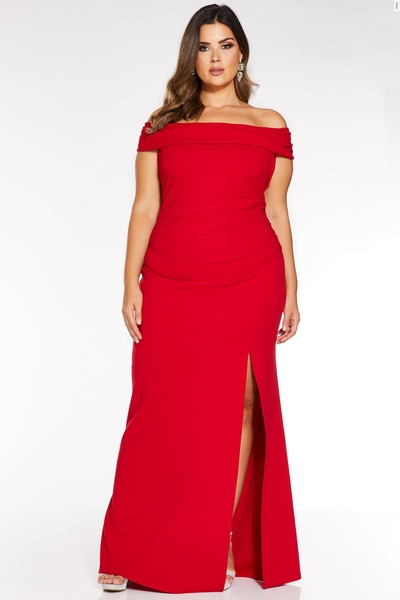 Curve Red Bardot Ruched Fishtail Maxi Dress